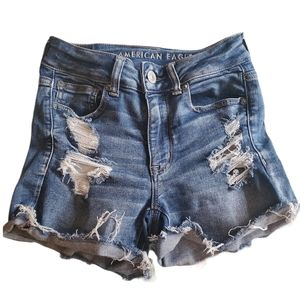 American Eagle Hi-Rise Shortie Distressed Shorts 2
